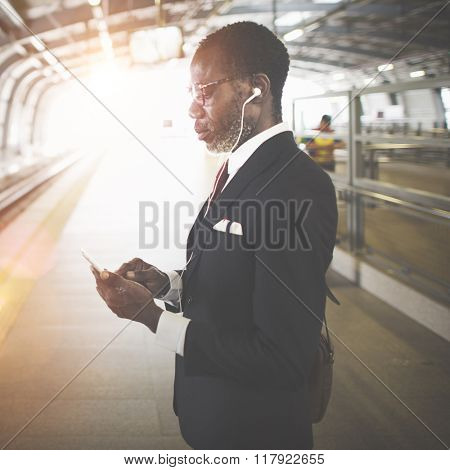Businessman Waiting Platform Transportation Concept