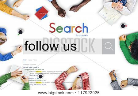 Follow Follow Us Follower Following Sharing Concept