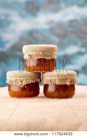 Three Cloudberry Jam Jars