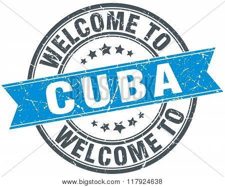 welcome to Cuba blue round vintage stamp
