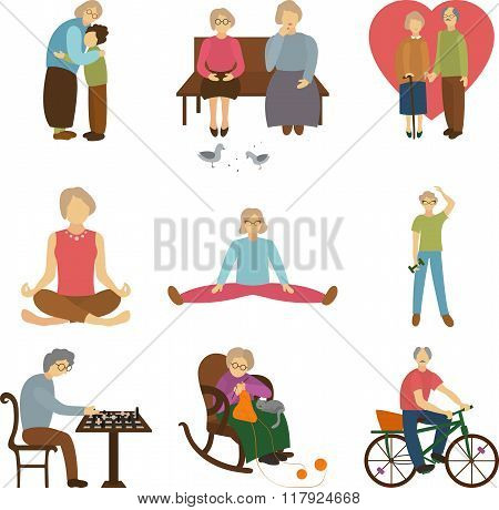 Older people active outdoors, love to the old age, the elderly sports, knitting and meeting grandson