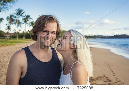Beautiful couple enjoying an exotic island honeymoon together