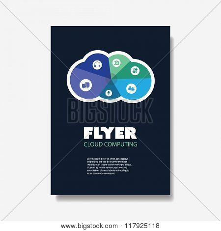Flyer of Cover Design Template with Cloud Computing, Networks Design Background