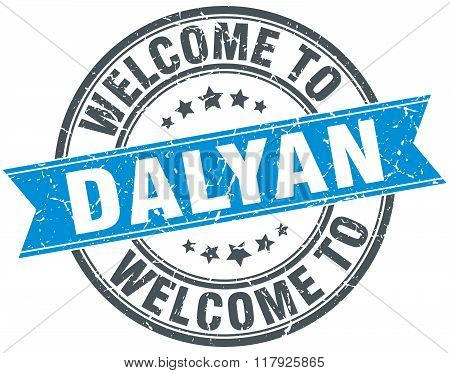 welcome to Dalyan blue round vintage stamp