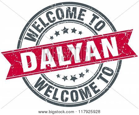 welcome to Dalyan red round vintage stamp