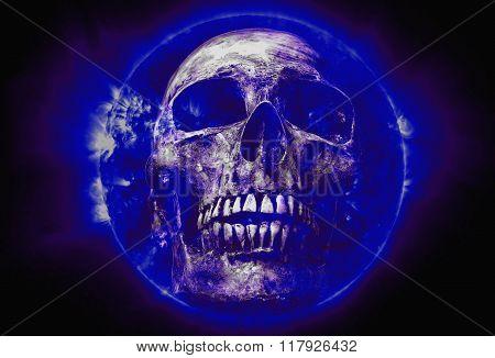 Skull On Blue Sun Black Background