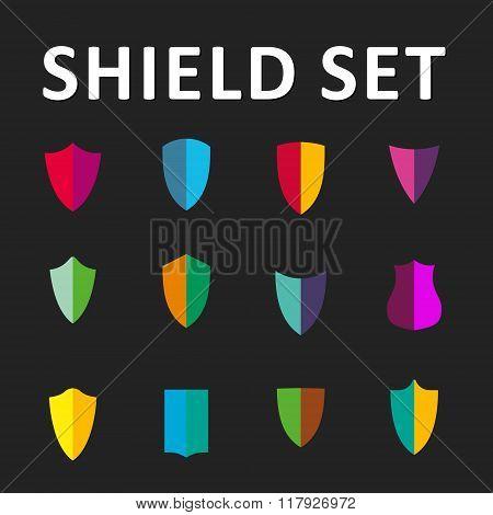 Vector Colorful Shields Set