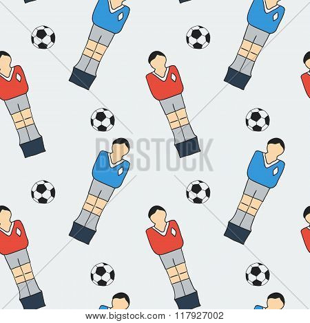 Table football sketch. Seamless pattern with hand-drawn cartoon icons - old-fashined foosball player