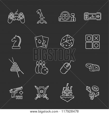sixteen flat game icons