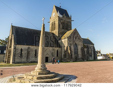 ST MERE EGLISE - APRIL 5: the famous church in Normandy on April 5, 2015 in St Mere Eglise, France