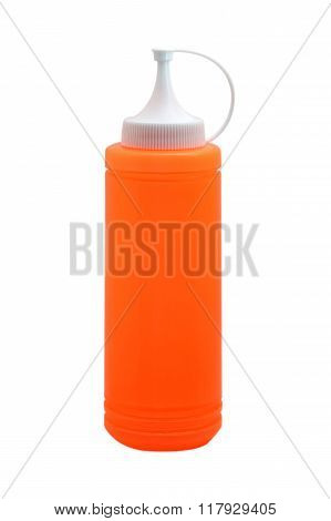 orange ketchup squirt bottle isolated on white ** Note: Visible grain at 100%, best at smaller sizes