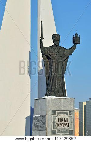 KALININGRAD, RUSSIA - JANUARY 23, 2016: Monument To St Nicholas Wonderworker. Kaliningrad, Russia