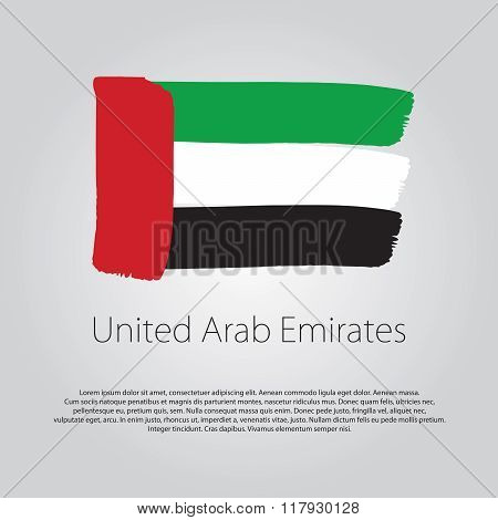 United Arab Emirates Flag With Colored Hand Drawn Lines In Vector Format
