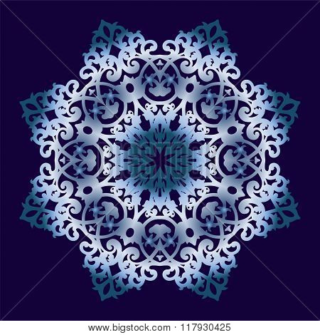 Circular ornament on blue background.