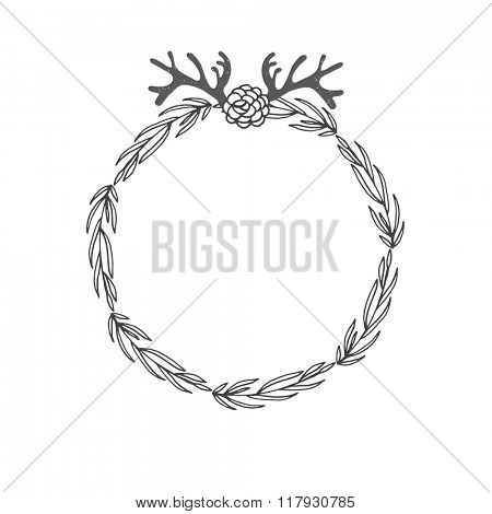 Laurel wreath with brunch, horn and flowers. Decorative element at engraving style.