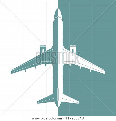 Silhouette Of Airplane. Top View