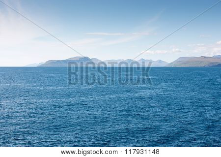 Landscape On The Faroe Islands As Seen From A Ship