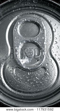 Closeup of a soda can.