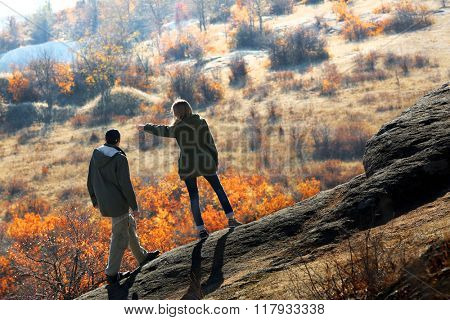 Man and woman on the mountain