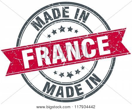 made in France red round vintage stamp
