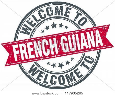 welcome to French Guiana red round vintage stamp