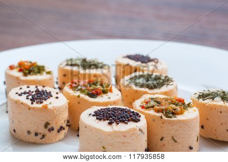 Fresh Cheese With Salmon, Vegetable And Herb