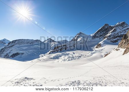 View Of Jungfrau And Aletsch Glacier From Jungfraujoch
