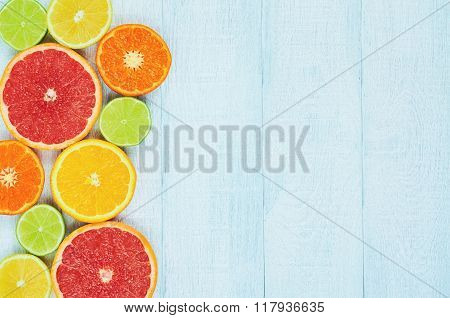 Citrus fruits. Oranges, limes, grapefruits, tangerines and lemons