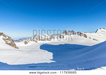 Panorama View Alps From Monchsjoch Mountain Hut