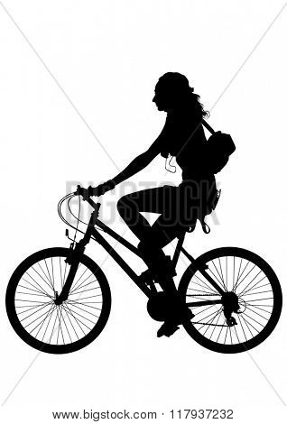Sport woman whit bike on white background