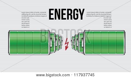 Battery Element Infographic Template. Design Concept For Presentation, Graph, Diagram And Chart. Vec
