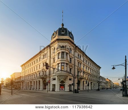 Piotrkowska Street In Lodz, On The Sunset.