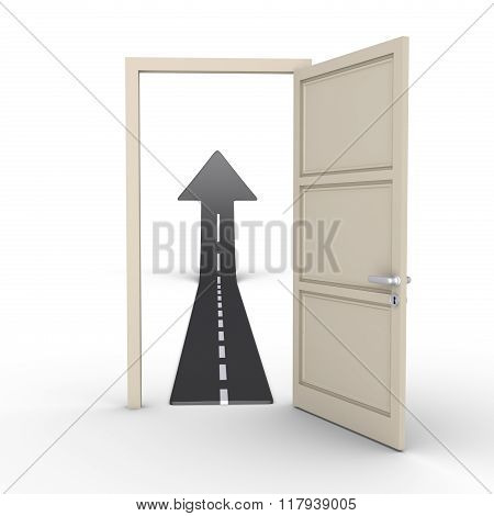 Opened Door Provides Road