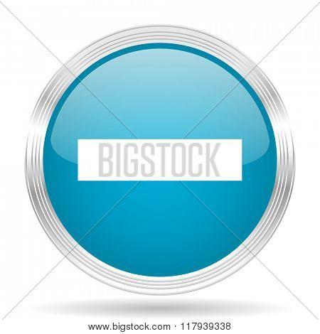 minus blue glossy metallic circle modern web icon on white background