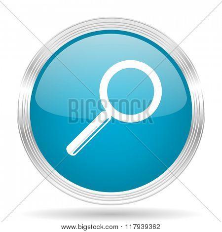 search blue glossy metallic circle modern web icon on white background