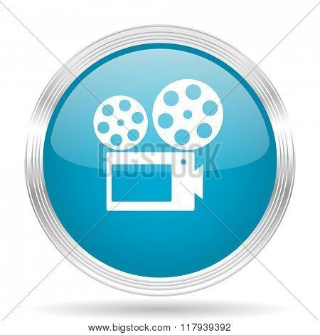 movie blue glossy metallic circle modern web icon on white background