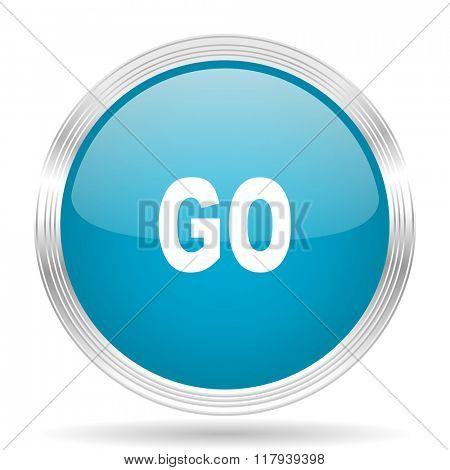 go blue glossy metallic circle modern web icon on white background