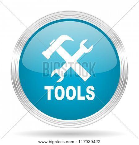 tools blue glossy metallic circle modern web icon on white background