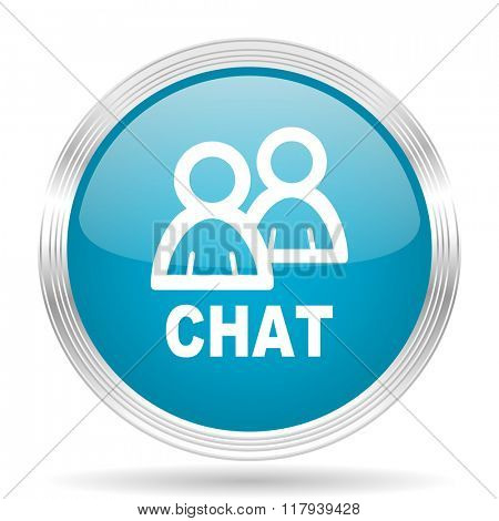 chat blue glossy metallic circle modern web icon on white background