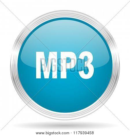 mp3 blue glossy metallic circle modern web icon on white background