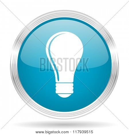 bulb blue glossy metallic circle modern web icon on white background
