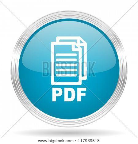 pdf blue glossy metallic circle modern web icon on white background,