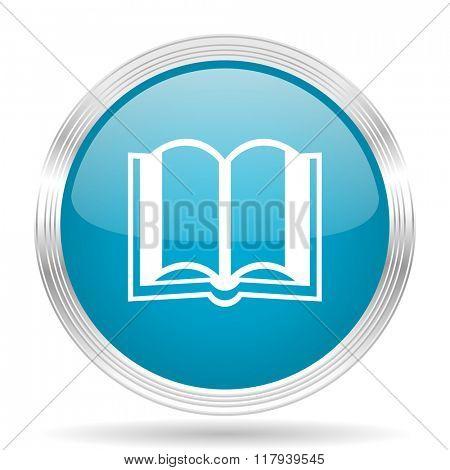 book blue glossy metallic circle modern web icon on white background