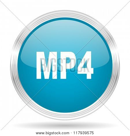 mp4 blue glossy metallic circle modern web icon on white background