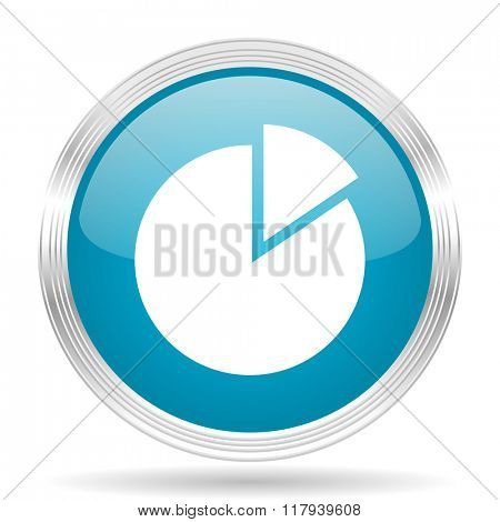 chart blue glossy metallic circle modern web icon on white background