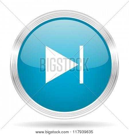 next blue glossy metallic circle modern web icon on white background