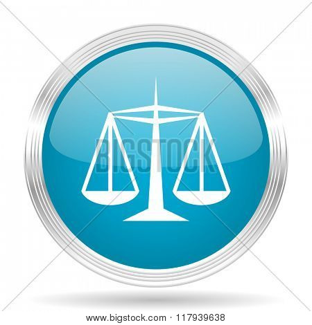 justice blue glossy metallic circle modern web icon on white background