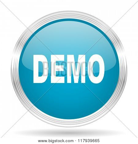 demo blue glossy metallic circle modern web icon on white background