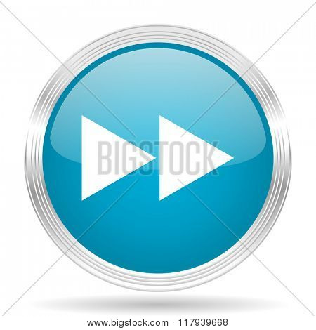rewind blue glossy metallic circle modern web icon on white background