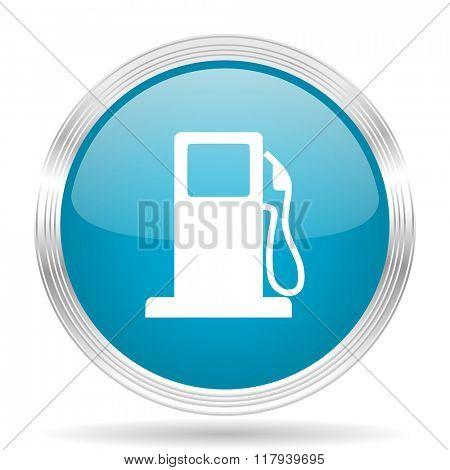 petrol blue glossy metallic circle modern web icon on white background